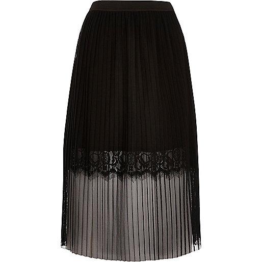Black pleated lace trim midi skirt