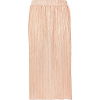 Metallic pink pleated midi skirt