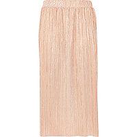 Plissierter Midirock in Pink-Metallic