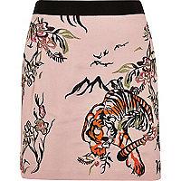 Pink tiger print embroidered mini skirt
