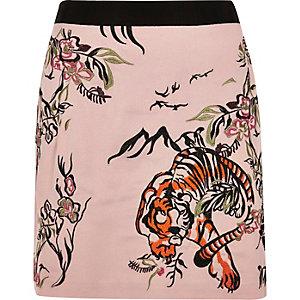 Mini-jupe imprimé tigre rose brodée
