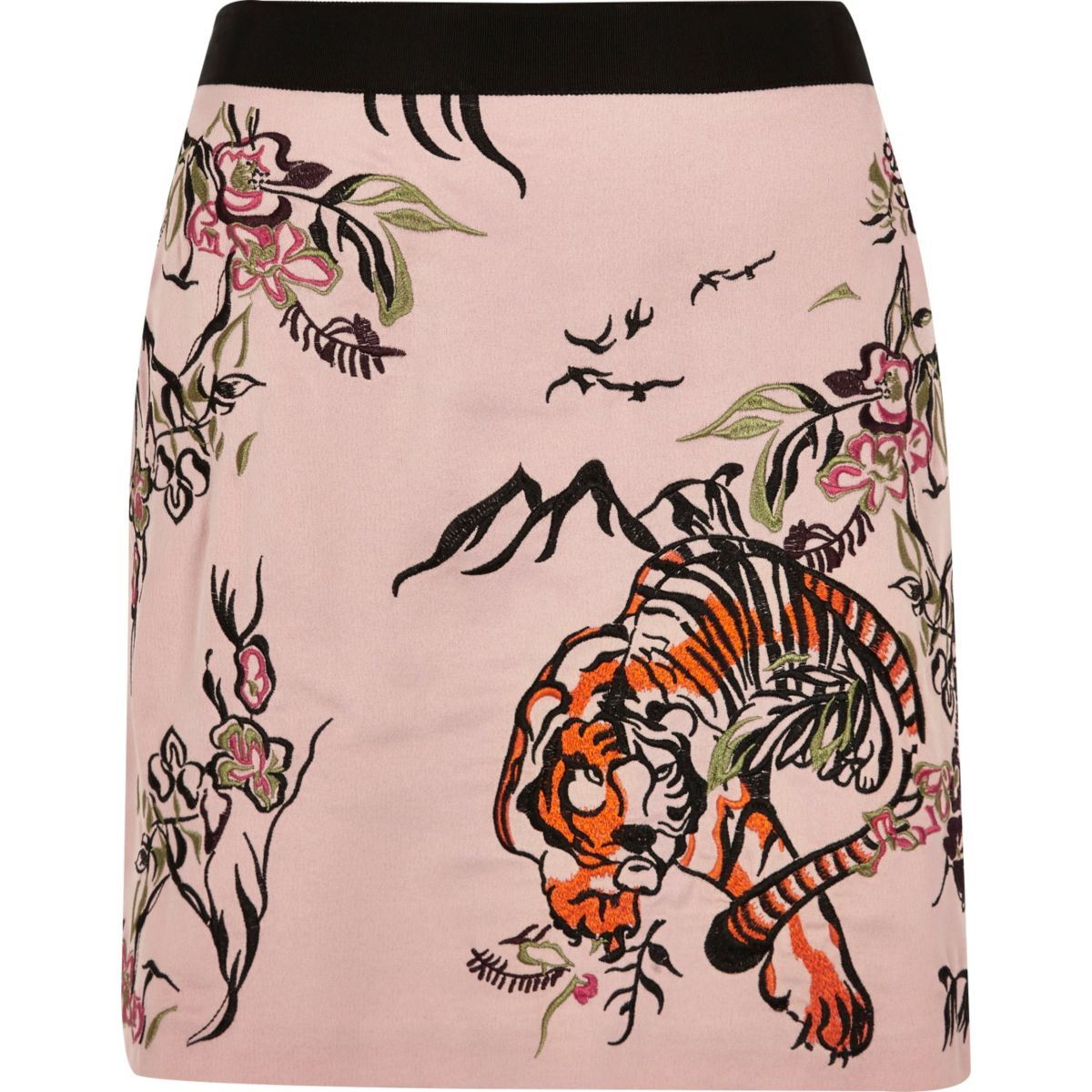 Pink tiger print embroidered mini skirt