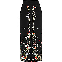 Black floral embroidered pencil midi skirt