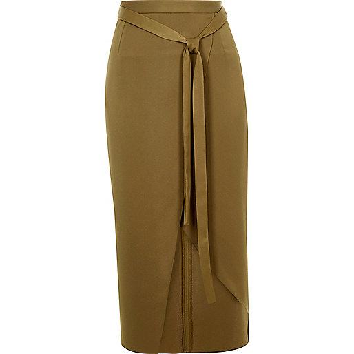 Dark green satin wrap midi skirt