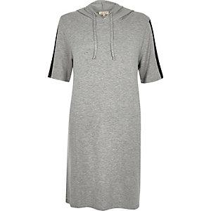 Grey stripe sleeve hooded tunic