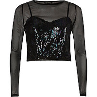 Black mesh sequin layered top