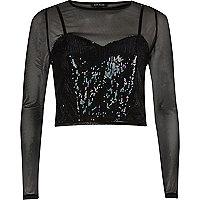 Black mesh sequin layered top