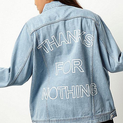 Plus light blue slogan print denim jacket