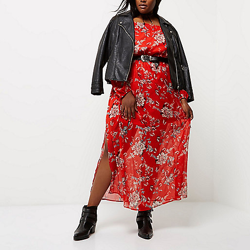 Plus red floral print bardot maxi dress