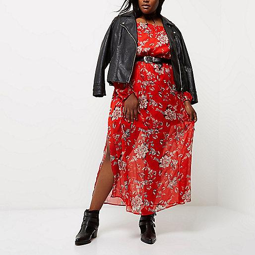 Robe longue Plus rouge à imprimé fleuri et encolure Bardot