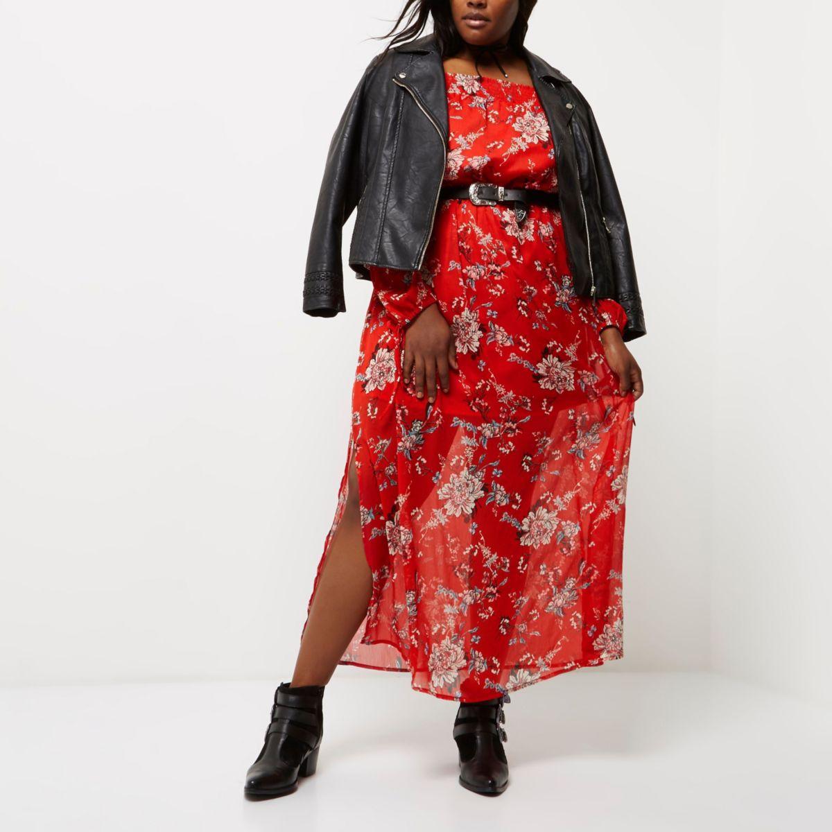 Plus – Robe Bardot longue rouge à imprimé fleuri