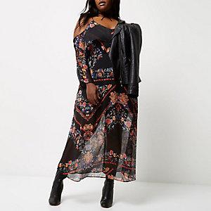 Robe mi-longue Plus noire imprimée à épaules dénudées