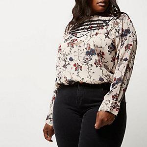 Plus cream floral print bib front blouse