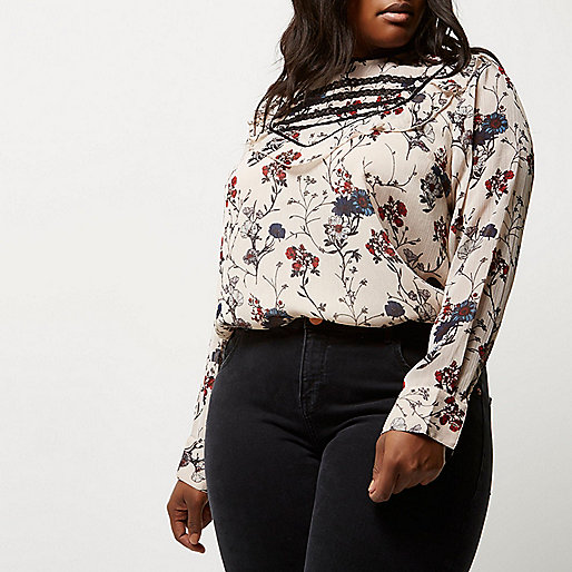 Plus cream floral print bib front blouse