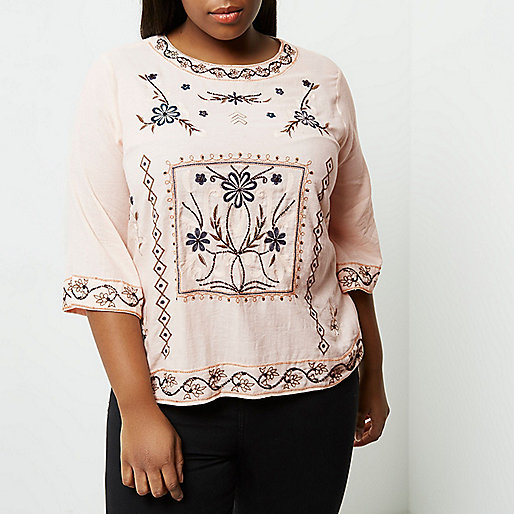 Plus pink floral embroidered top