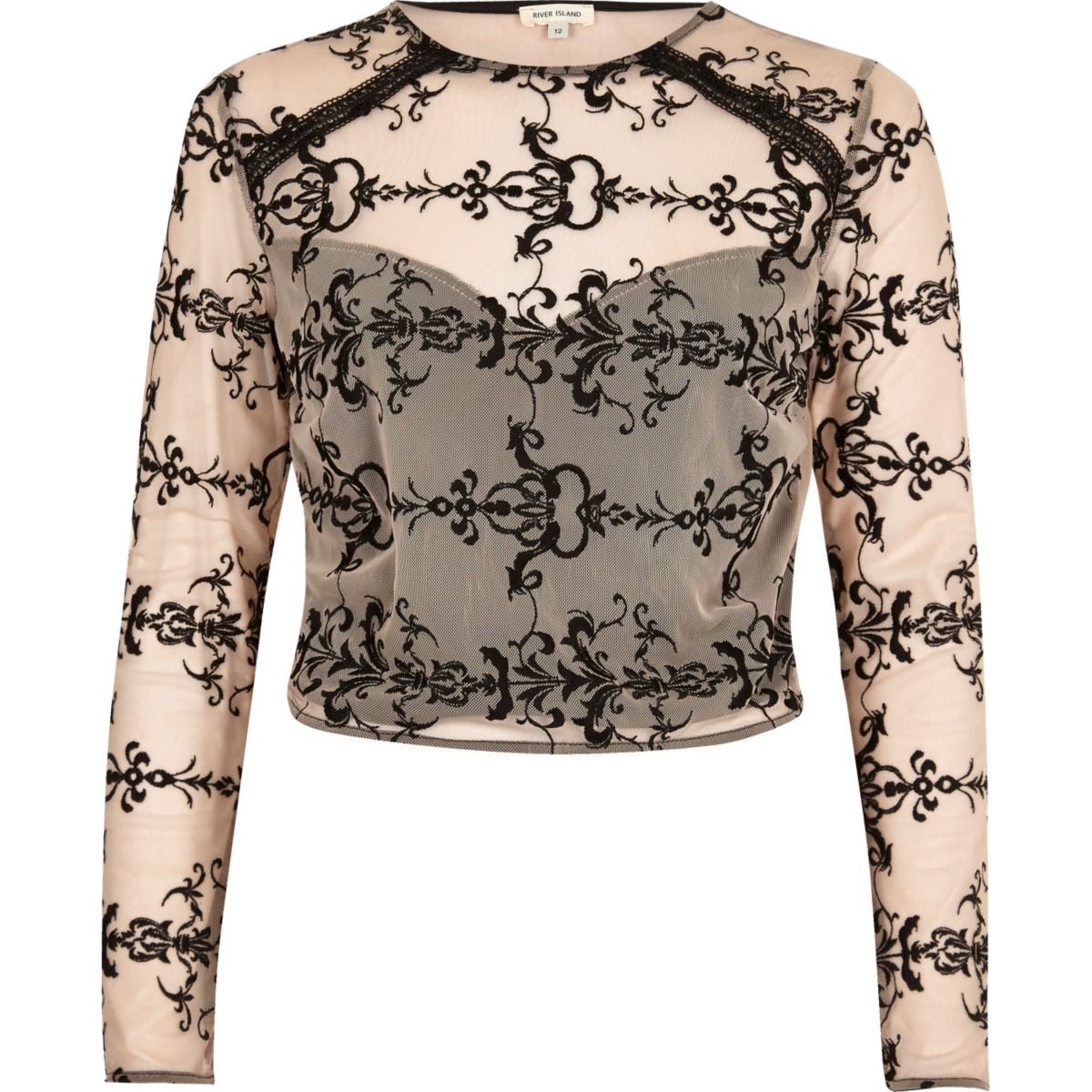 Nude embroidered mesh crop top