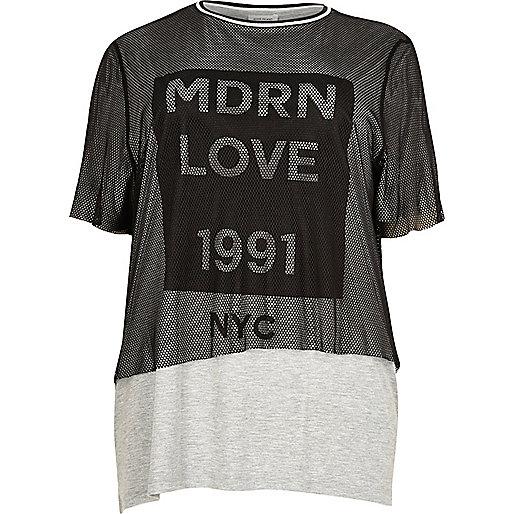 T-shirt Plus imprimé gris à résille