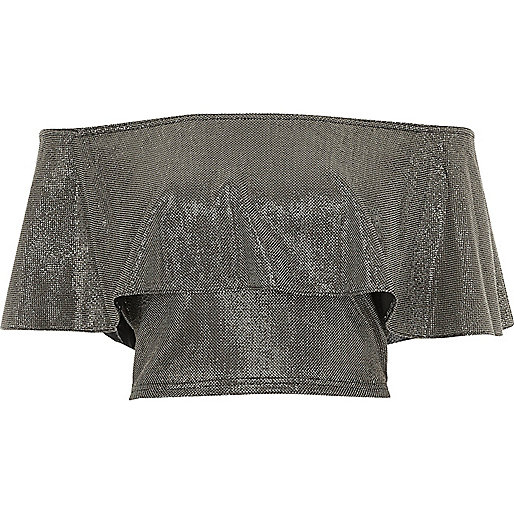 Silver deep frill bardot crop top