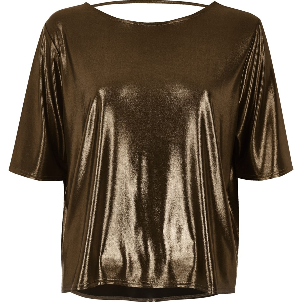 Kastiges T-Shirt in Bronze