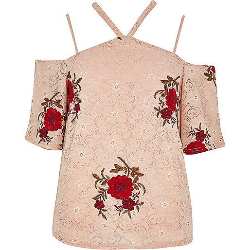 Blush pink lace floral cold shoulder top