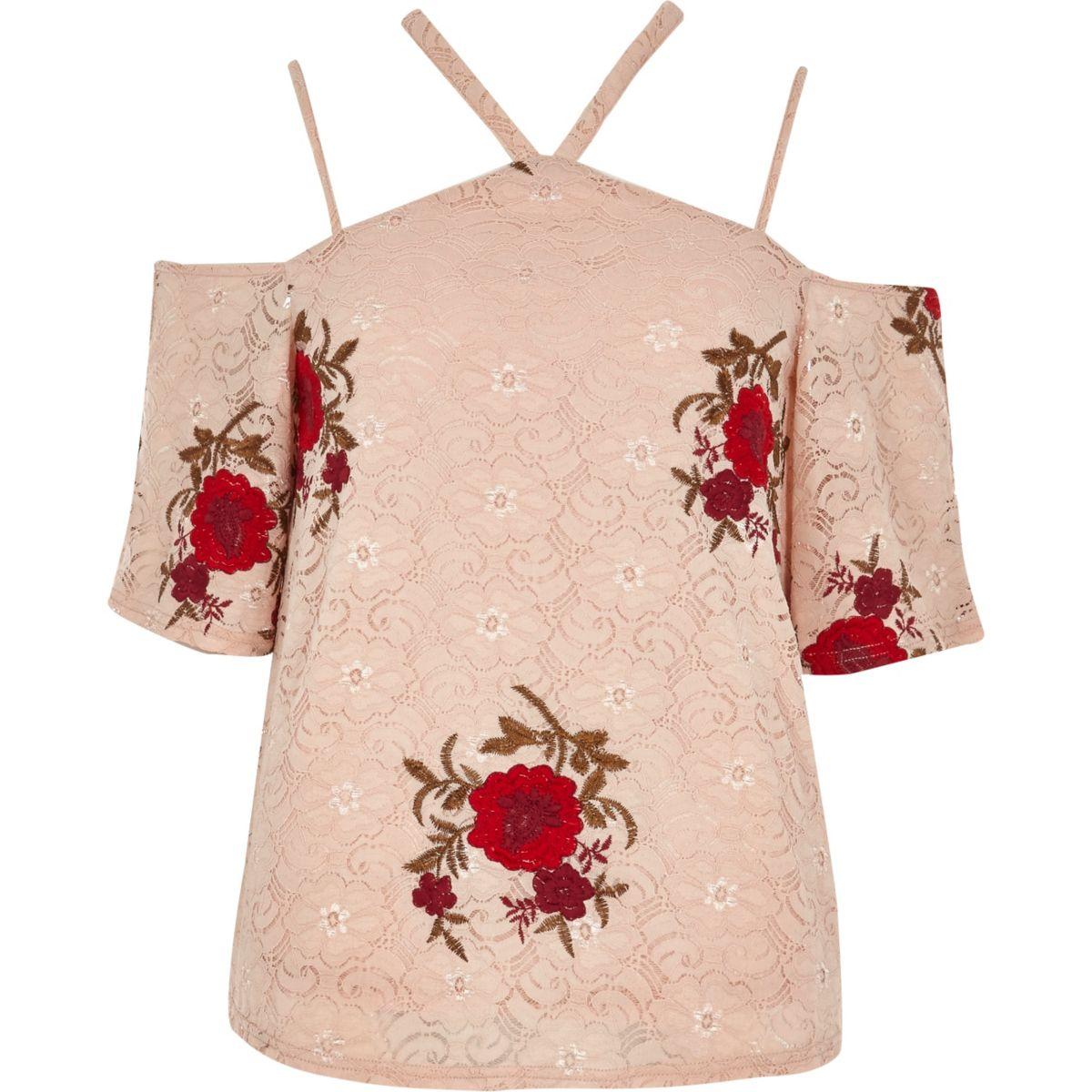 Top rose tendre avec dentelle à fleurs à épaules dénudées