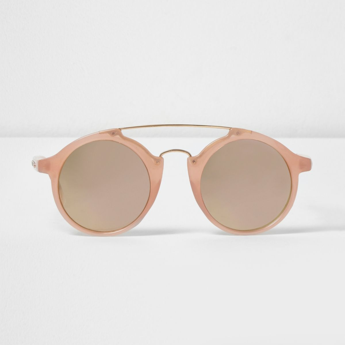 Rose gold tone circle lens sunglasses