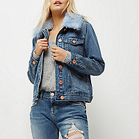 Petite mid blue faux fur trim denim jacket