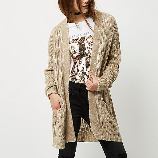 Petite beige knit sequin cardigan