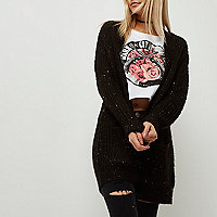Petite black knit sequin cardigan