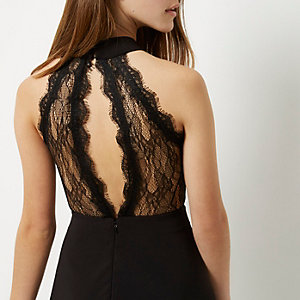 Petite black lace trim high neck skater dress