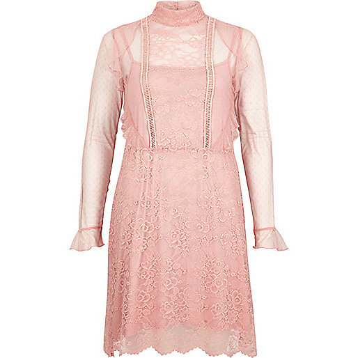 Pink lace frill dress
