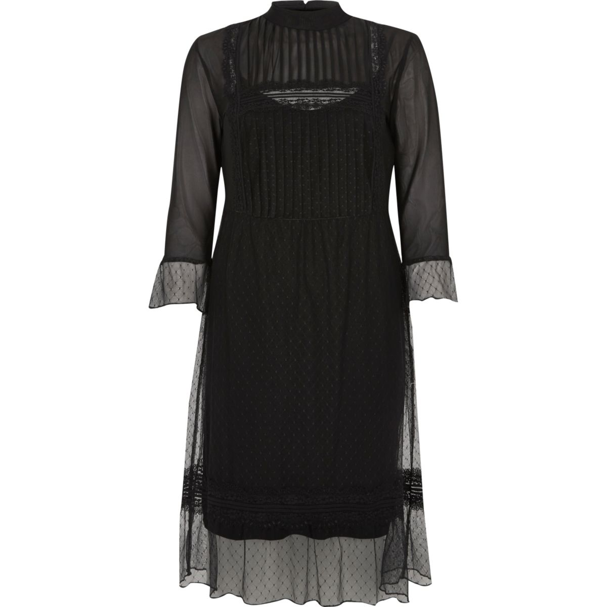 Zwarte kanten midi-jurk in Victoriaanse stijl
