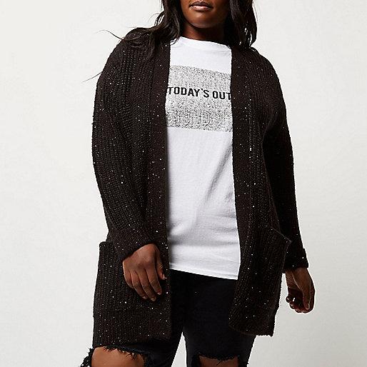 Plus black knit sequin cardigan