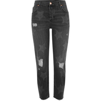 Ashley zwarte washed boyfriend jeans met sterrrenprint
