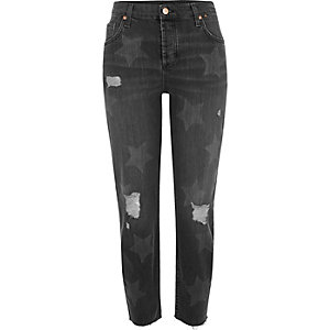 Black washed star print Ashley boyfriend jean