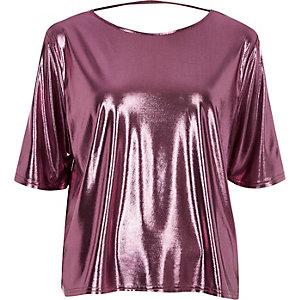 Metallic pink boxy strap back T-shirt