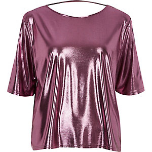 Metallic pink boxy strap back T-shirt
