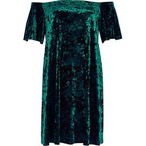 Green velvet bardot swing dress