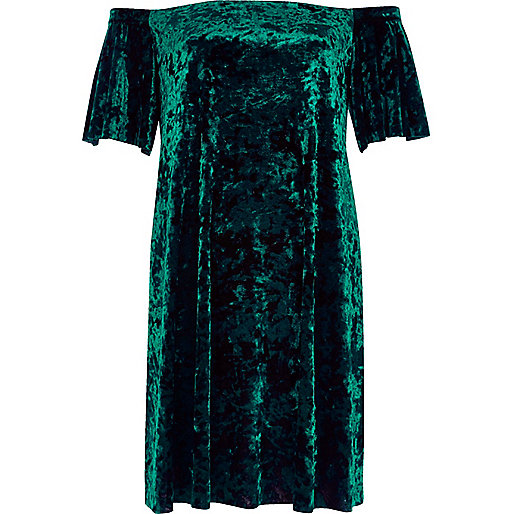 Green velvet bardot swing dress
