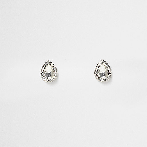 Silver tone diamante teardrop stud earrings