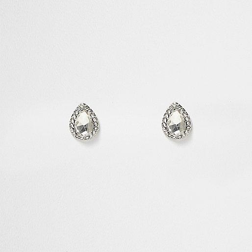Silver tone crystal stud earrings