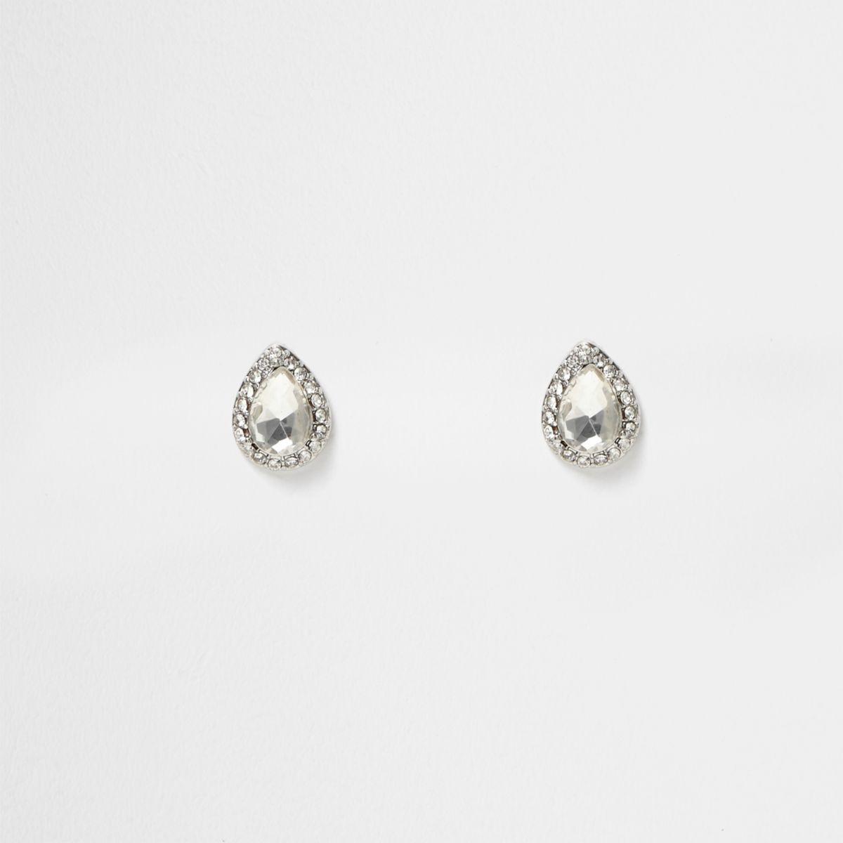 Silver tone rhinestone teardrop stud earrings