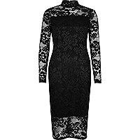 Schwarzes Bodycon-Kleid aus Spitze mit Rollkragen