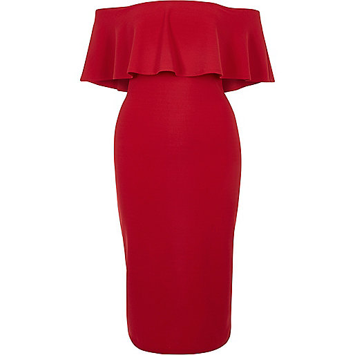 Red frill bardot bodycon dress