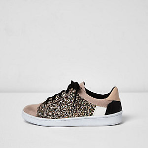 Pink glitter panel trainers