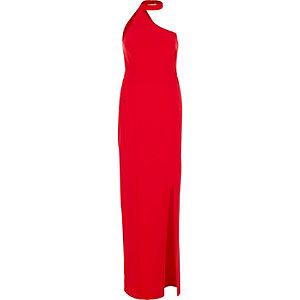 Red one shoulder choker maxi dress