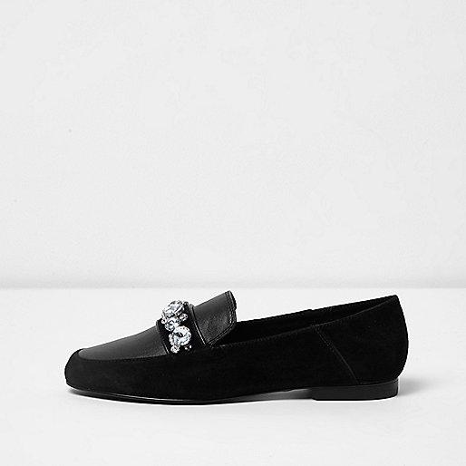 Black suede jewel embellished loafers