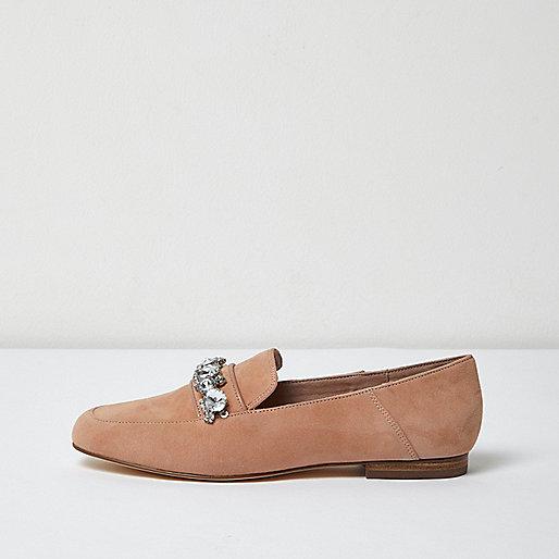 Nude suede jewel embellished loafers