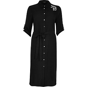 Black embroidered floral shirt dress