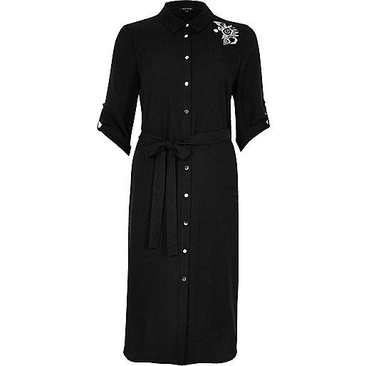 Black embroidered floral shirt dress